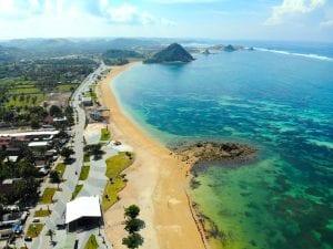 Aerial view of Kuta Mandalika beach